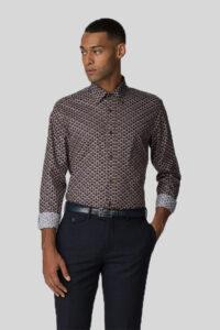Camisa_Geo Print Shirt_Ben Sherman_0059103_Oxblood 1