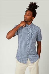 Camisa_Short Sleeve Button Down Gingham Shirt_Ben Sherman_0059142_Navy_a