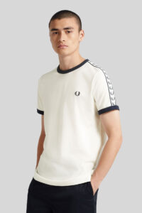 Camiseta Ringer con cinta deportiva-Fred Perry-White 1