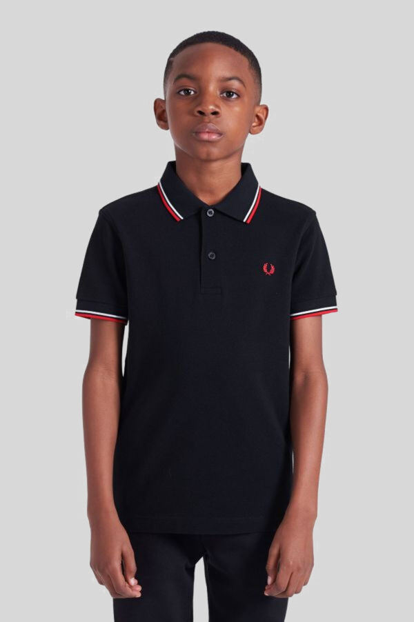 Fred Perry - Kids Twin Tipped Shirt - 471 Navy-White-Red