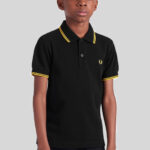 Fred Perry - Kids Twin Tipped Shirt - 506 Black-Yellow-Yellow