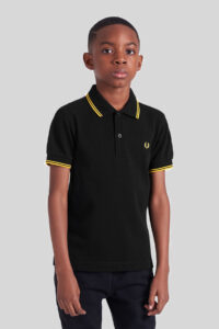 Fred Perry – Kids Twin Tipped Shirt – 506 Black-Yellow-Yellow