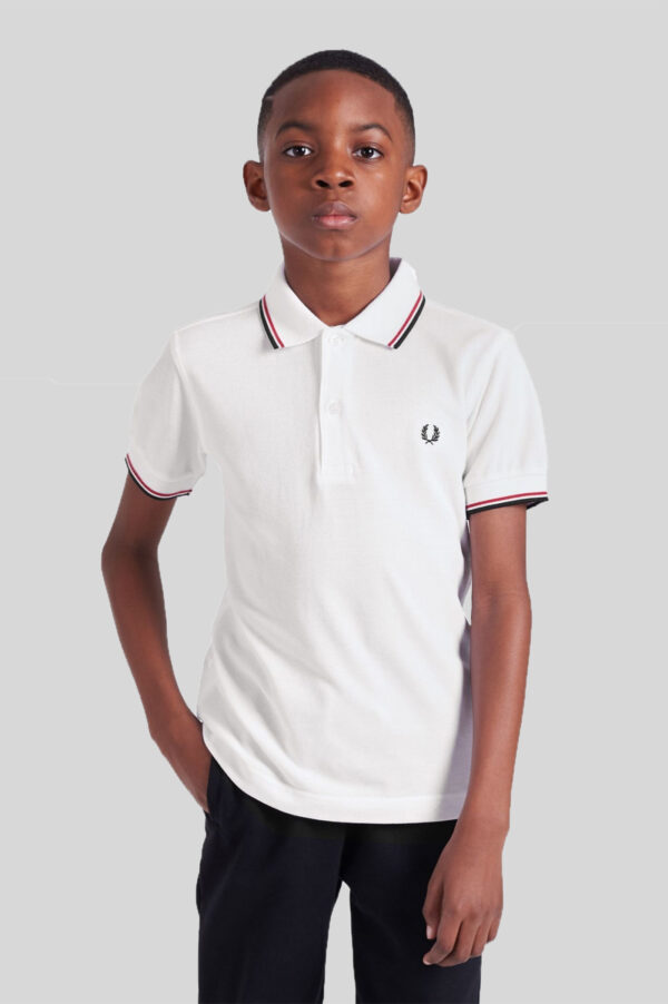 Fred Perry - Kids Twin Tipped Shirt 748 White-Bright Red-Navy