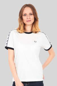 Fred Perry - WMN Taped Ringer T-Shirt G6347 - 303 Snow White